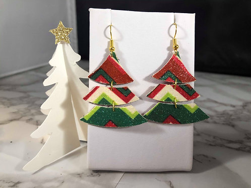 Red, White, and Green Faux Leather Earrings
