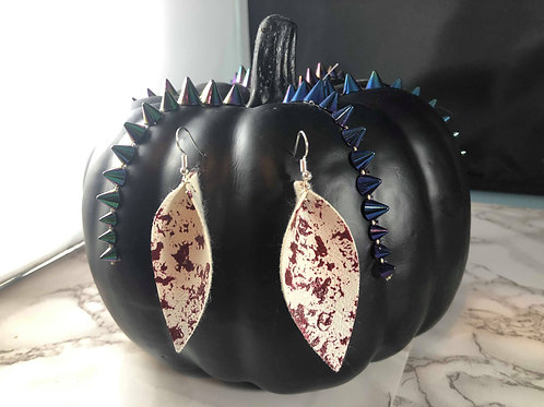Blood Spatter White Faux Leather Halloween Earrings