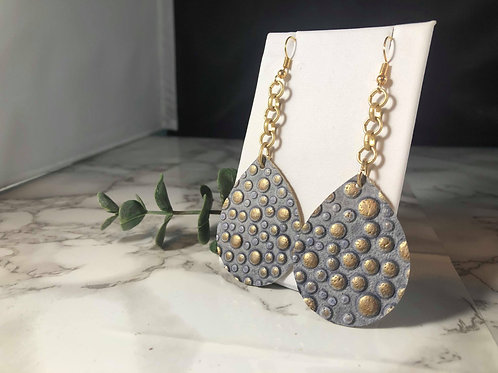 Blue Gray and Matte Gold Bubble Genuine Leather Earrings