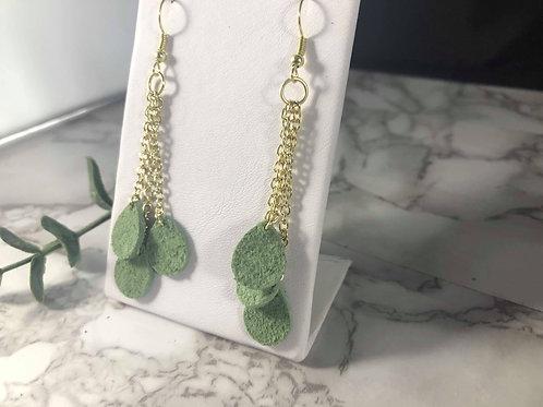 Moss Green Genuine Suede and Gold Teardrop Earrings