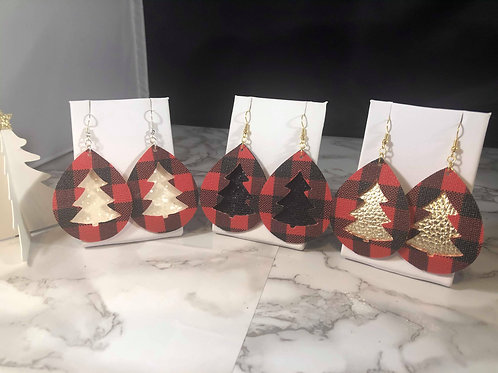 Red Buffalo Plaid and Christmas TreeFaux Leather Earrings