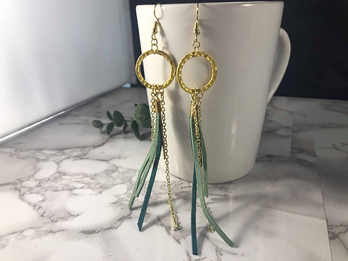 Multi-Layer Mint, Teal, and Gold Genuine Suede Shoulder Duster Earrings