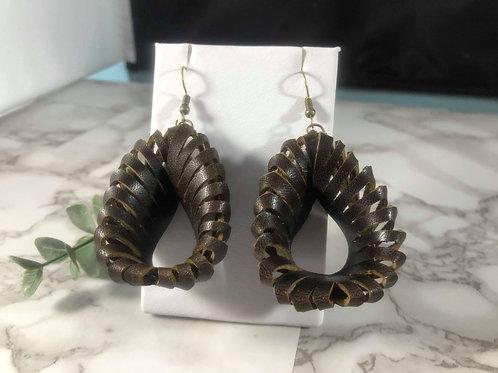 Deep Brown Genuine Leather 3D Sculpture Earrings