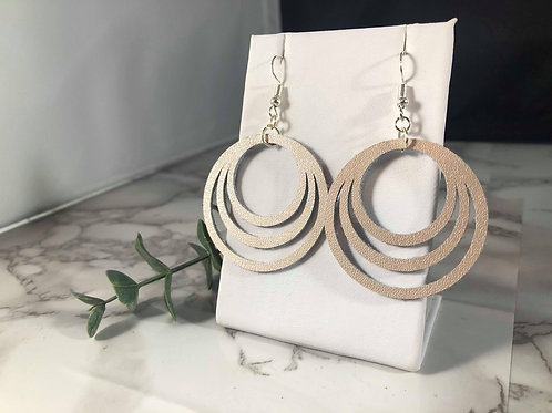 Pale Rose Gold Genuine Leather Circle Cutout Earrings