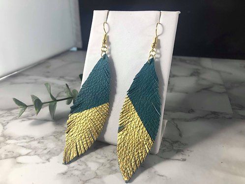 Teal Genuine Leather with Gold Hand Painted Detail Feather Earrigs