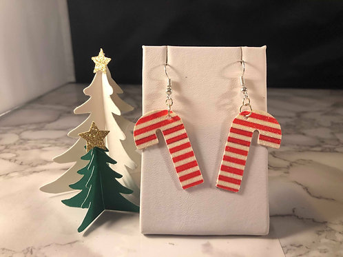 Red and White Stripe Faux Leather Earrings