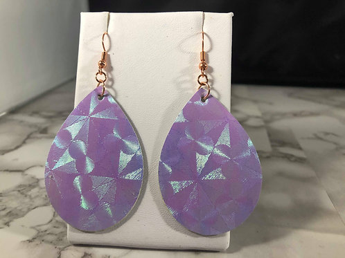 Lilac and Turquoise Iridescent Double Sided Teardrop Earrings