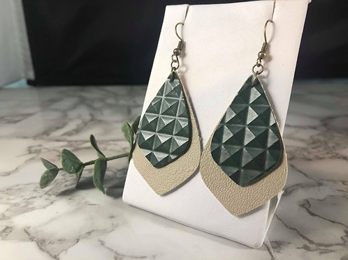 Forest Green Stud and Khaki Faux Leather Earrings