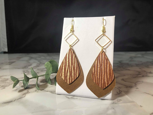 Chestnut Brown and Rust, and Gold Italian Genuine Leather Earrings