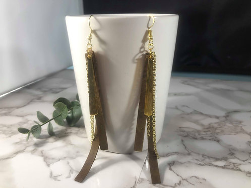 Brown and Gold Chain Shoulder Duster Earrings