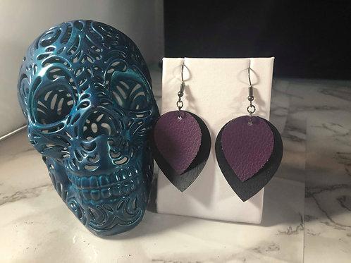 Black and Dark Purple Faux Leather Earrings