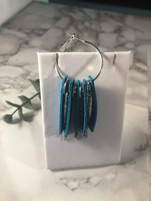 Teal Genuine Leather and Silver Chain Hoop Earrings