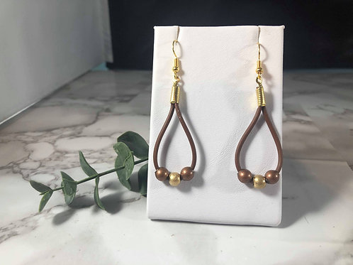 Faux Leather Cord with Copper and Gold Bead Loop Earrings