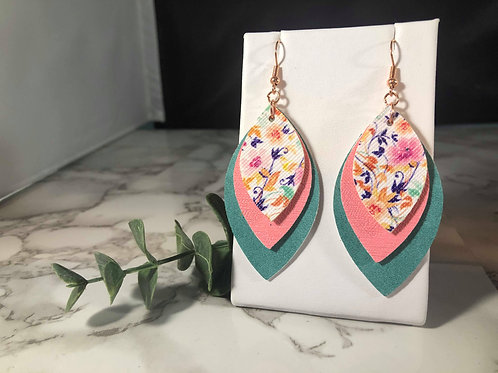 Turquoise, Pink, and Floral Faux Leather Earrings