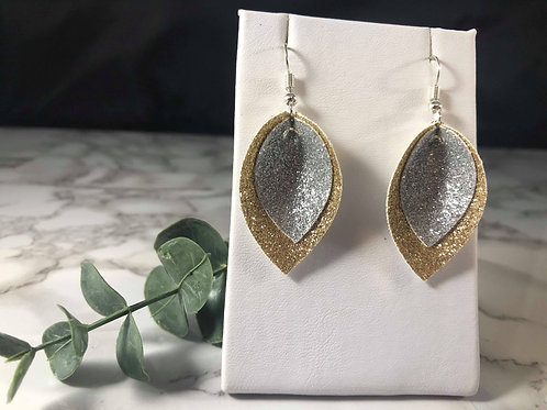 Gold and Silver Glitter Faux Leather Earrings