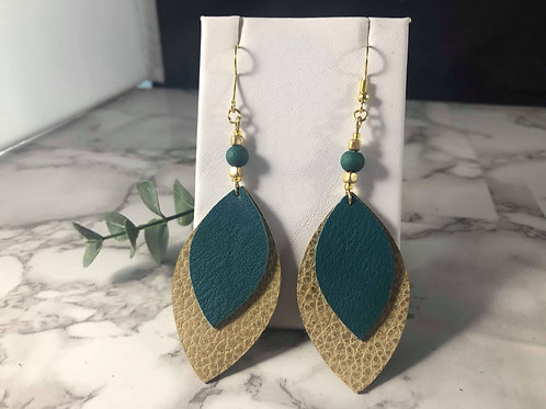 Teal and Champagne Gold Double Layer Genuine Leather Earrings
