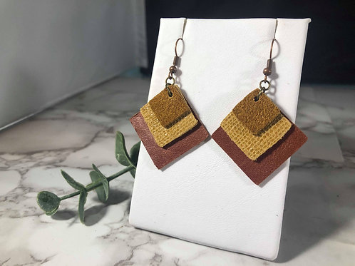 Rust, Glossy Camel, and Deep Caramel Genuine Leather Earrings