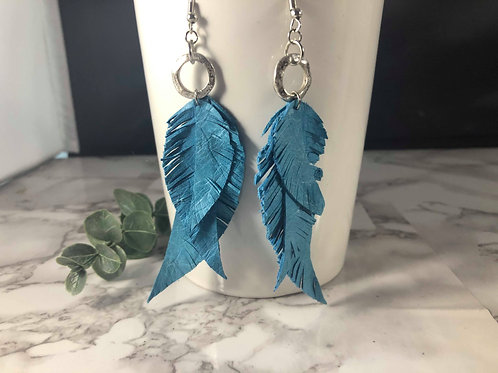 Light Blue Genuine Leather Multi Layered Fringe Feather Earrings