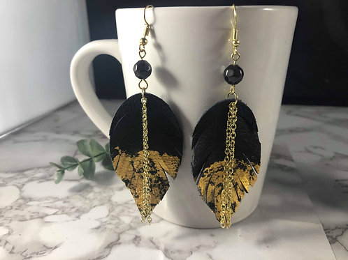 Black Genuine Recycled Leather and 23k Gold Leaf Feather Earrings