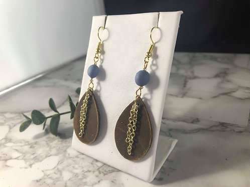 Brown Genuine Leather Teardrop Earrings with Beads and Gold Chain