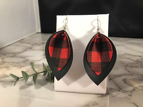 Red Buffalo Plaid and Black Faux Leather Earrings