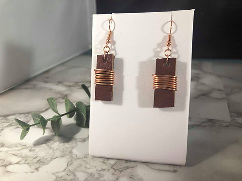 Reddish Brown Genuine Leather Bar Earrings with Rose Gold Wire Wrapping