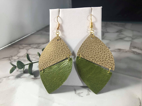 Dark Olive Green and Matte Metallic Gold Genuine Leather Earrings