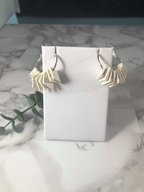 White Genuine Leather Diamond Hoop Earrings