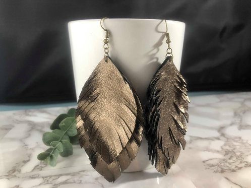 Double Layer Metallic Bronze Genuine Leather Feather Earrings