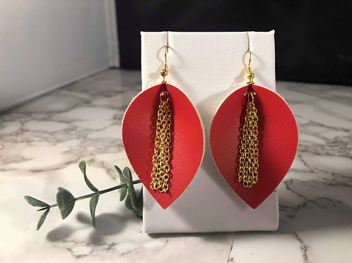 Red Faux Leather Earrings with Gold Chain