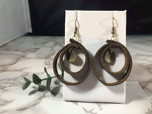 Recycled Genuine Leather Black Coffe Spiral Earrings