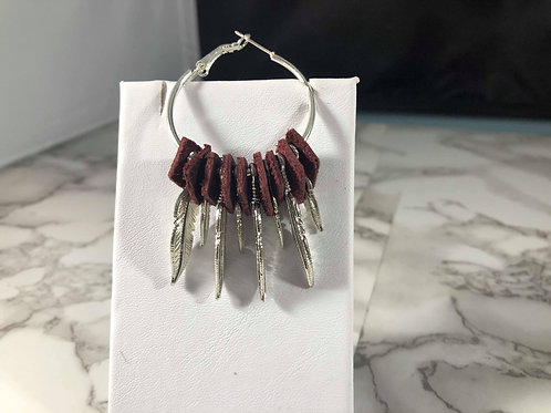 Maroon Recycled Genuine Leather Hoops with Silver Feathers