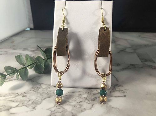 Brown Genuine Leather and Mixed Metal Loop Earrings