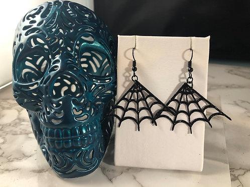 Black Glitter Faux Leather Spiderweb Halloween Earrings