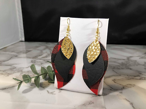 Red Buffalo Plaid, Black, and Gold Glitter Faux Leather Earrings