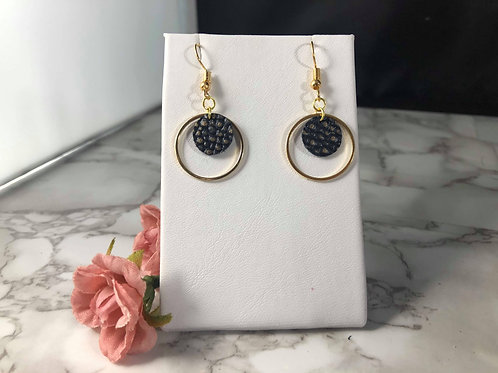 Navy and Gold Genuine Leather Double Circle Earrings