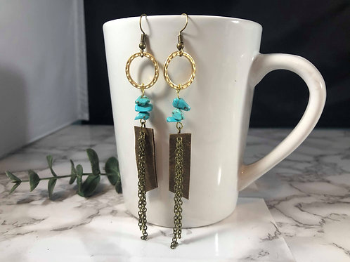 Medium Brown Genuine Leather Earrings with Mixed Metals