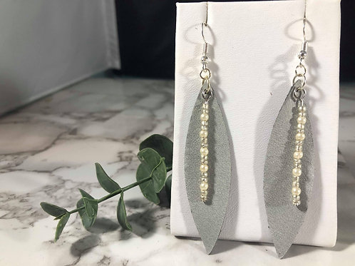 Gray Genuine Leather Earrings with Beads