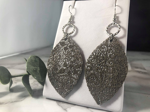 Gray and Metallic Silver Recycled Genuine Suede Earrings