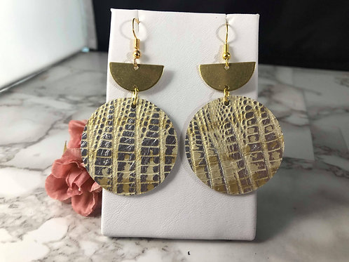 Gold and Silver Crocodile Textured Genuine Leather Earrings
