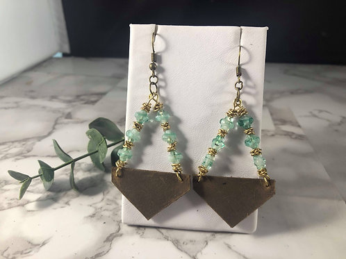Brown Genuine Leather, Gold, and Turquoise Triangle Earrings