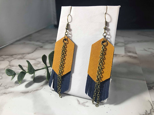 Mustard and Navy Genuine Leather Fringe Earrings