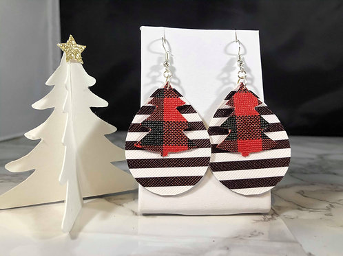 Red Buffalo Plaid and White and Black Stripe Earrings