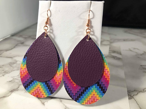 Rainbow Printed Chevron and Plum Teardrop Earrings