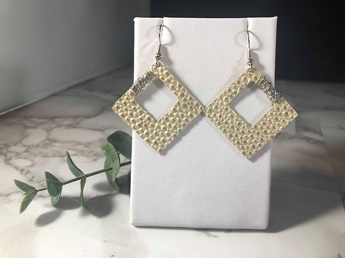 Ivory Pearl Genuine Leather Earrings with Wire Wrapping