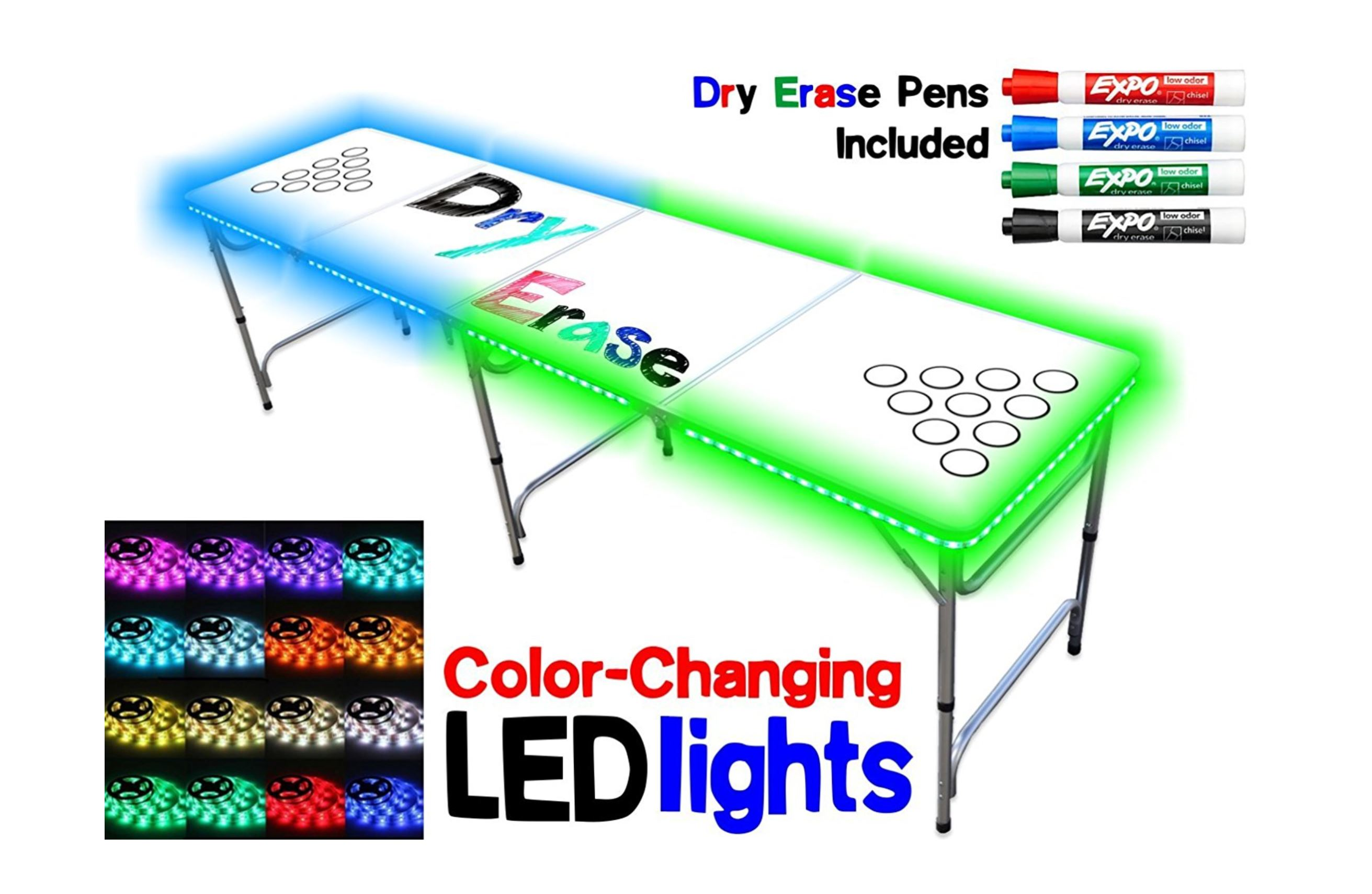 LED - Dry Eras Beer Pong Table - Party Rentals in South Florida - Wellington, FL 786-423-8759