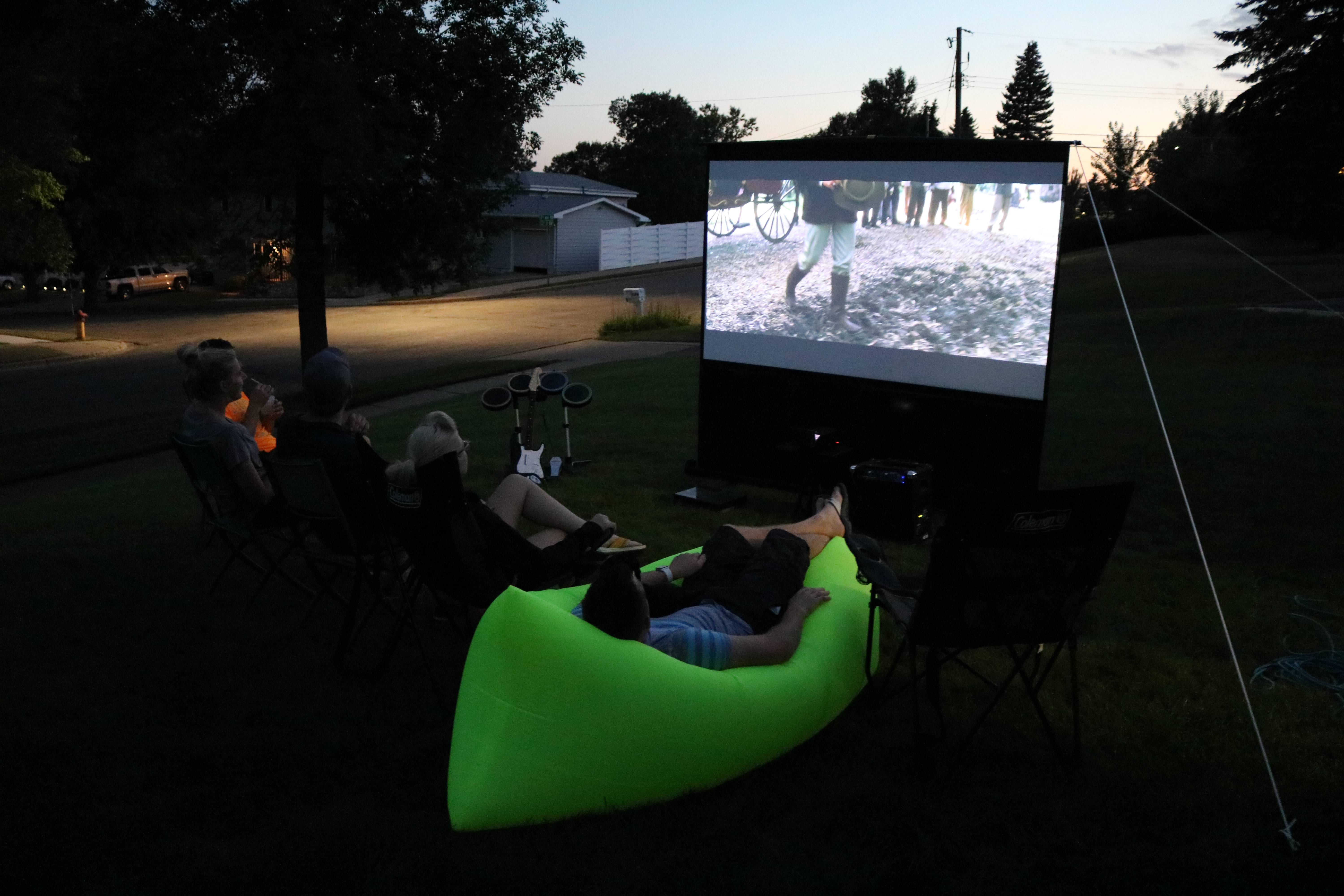 Backyard  Movie Projector Setup