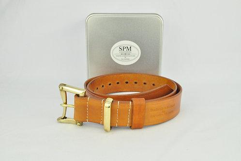 Tan leather fireman belt wide