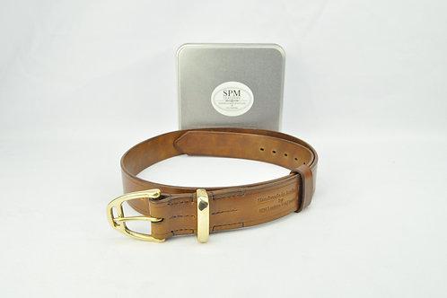 Brown leather stirrup belt wide
