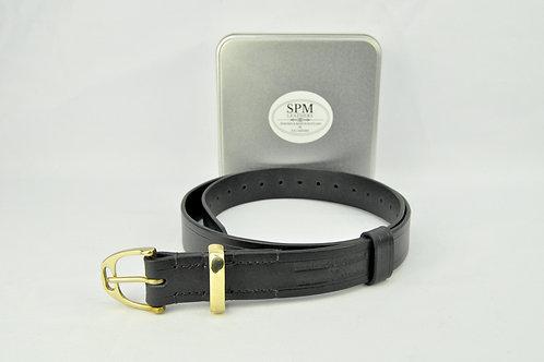Black stirrup leather belt